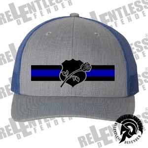 ReLEntless Defender Blue-line Rose and Shield Snapback Hat